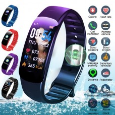 Colorful Smart Bluetooth Fitness Tracker Blood Pressure Blood Oxygen Sleep Heart Rate Monitor Sport Smart Watch Smart Wristband Pedometer Waterproof Fitness Band Bracelet for Android Ios VS Fitbit Miband 3 Black Blue Red Purple Green